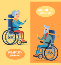 Disability pension two pensioners on wheelchairs vector