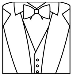 figure sticker suit with bow tie icon vector image vector image