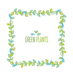 Green leaves frame design element in hand drawn vector