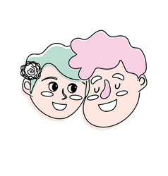 Happy couple face with hairstyle design vector