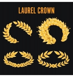 Laurel crown set greek wreath with golden leaves vector