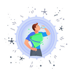 man drinks water protection against germs vector image