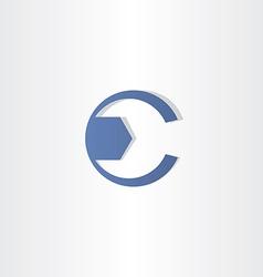 mechanic key letter c symbol design vector image vector image