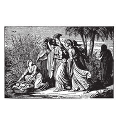 Moses is found by pharaohs daughter as miriam vector