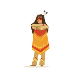 Native american indian girl in traditional indian vector