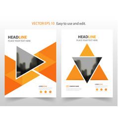 orange triangle annual report brochure design vector image