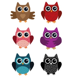 owl set vector image vector image