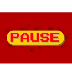Pixel computer game pause screen on red background vector