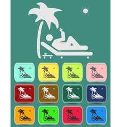 Relax under an palm on a lounger vector