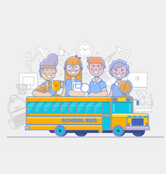 School children activities linear education vector