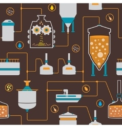 Seamless background with beer brewing process vector image vector image