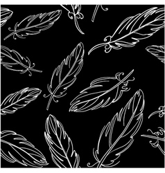 Seamless black pattern with feather vector image