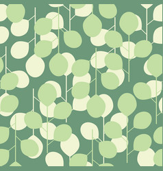seamless pattern of abstract leaves on a green vector image