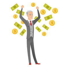Senior caucasian busiessman under money rain vector