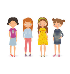 set of cartoon stylish girls vector image vector image