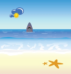 shark and beach vector image vector image