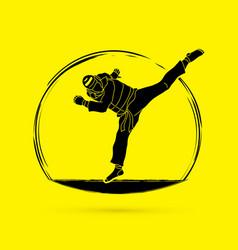 Taekwondo jump kick action with guard equipment vector