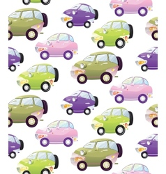 Texture with cute cartoon car with the headlights vector image vector image