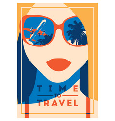 Time to travel and summer camp poster vector