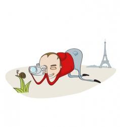 tourist in paris vector image