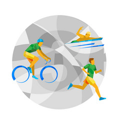 Triathlon with abstract patterns vector