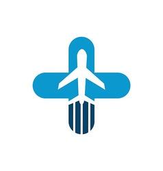 Vacation travel plane healthy logo icon vector