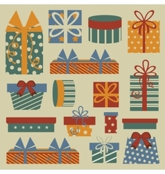 Retro christmas set with gift boxes vector