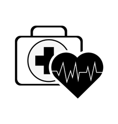 First aid kit and hear cardiogram icon vector
