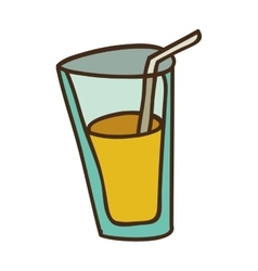 Glass with drink vector