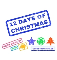 12 days of christmas rubber stamp vector