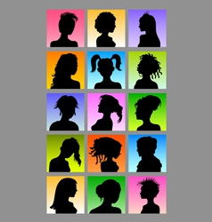 Female avatar silhouettes set vector