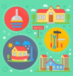Real estate design concept set with sale vector