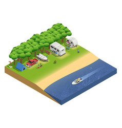 Recreational vehicles on beach isometric vector