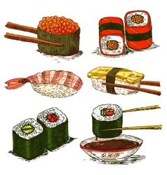 Tasty rolls and sushi set vector