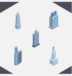 Isometric skyscraper set of exterior building vector