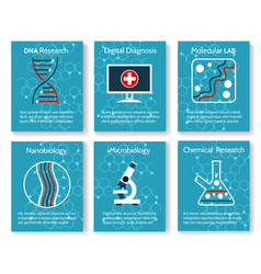 nanobiology and microbiology research cards vector image