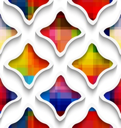 White wavy rectangles with rainbow on white vector image