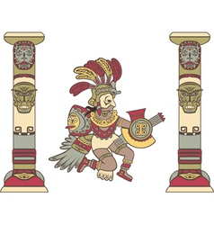 Aztec god between columns colored vector