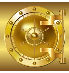 Gold bank doors vector