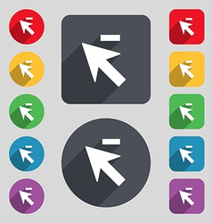 Cursor arrow minus icon sign a set of 12 colored vector