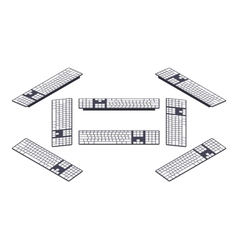 Isometric pc keyboard vector