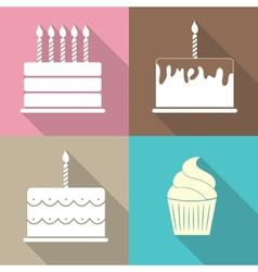 Birthday cake flat web icon vector