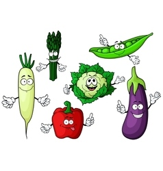 Cartoon organic garden vegetables characters vector