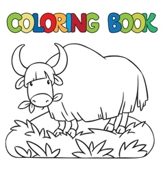 Coloring book of funny wild yak vector