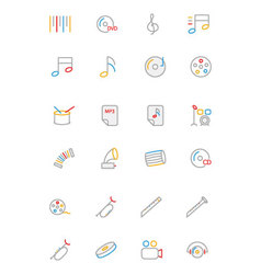 Music colored outline icons 2 vector