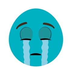 Blue cartoon face crying graphic vector