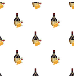 a bottle of alcohol wine in a glass and cheese vector image