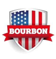 Bourbon ribbon on usa flag shield vector