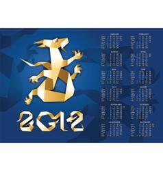 calendar - origami dragon 2012 year 10eps vector image