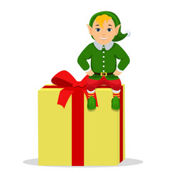 cartoon cute elf sitting on a box with gift vector image vector image